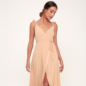 Here's to Us Blush Pink High-Low Wrap Dress